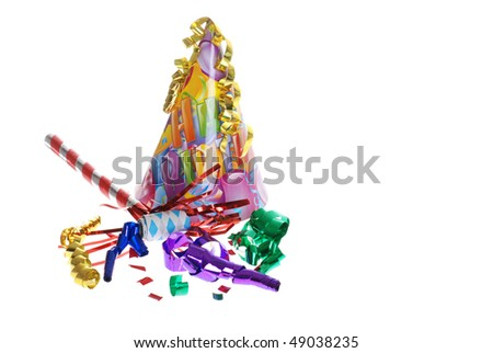 birthday party supplies - stock photo