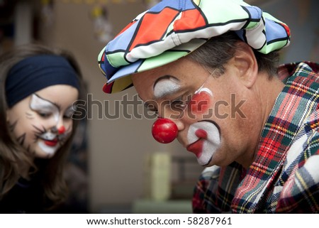 Birthday party with clown - stock photo