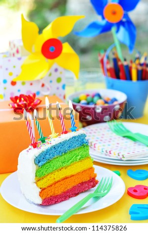 Birthday rainbow cake - stock photo