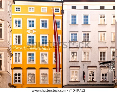 Birthplace of Mozart in Salzburg in Austria - stock photo