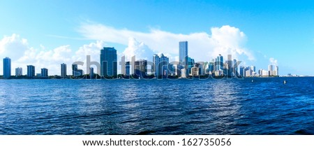 Biscayne Bay Miami Skyline                                - stock photo