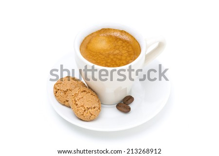 biscotti cookies and espresso, top view, isolated on white - stock photo