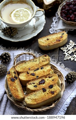 Biscotti with dried cranberries and orange peel - stock photo