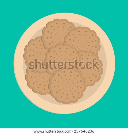 Biscuit cookie cracker on the plate.  - stock photo