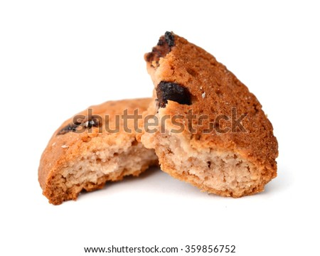 Biscuit-round biscuit in white cup on white background - stock photo