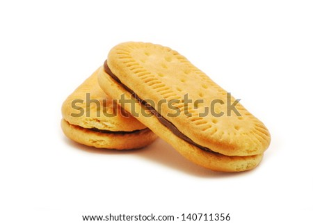 biscuit with cocoa cream isolated on white background - stock photo