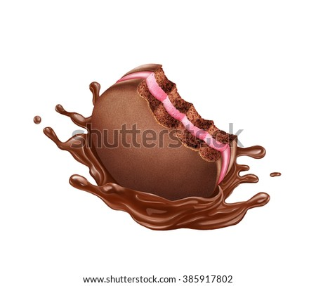 Biscuit with strawberry filling and chocolate splashes, isolated over white background - stock photo