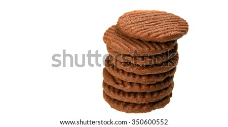 BISCUITS - A stack of delicious Chocolate Chip Cookie and cream biscuit on white background