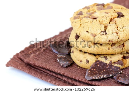 biscuits cookies  with chocolate chips in a brown napkin - stock photo