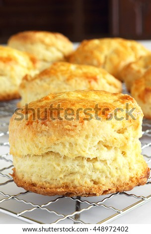 Biscuits cooling, ready to be sliced for your favorite strawberry shortcake recipe - stock photo