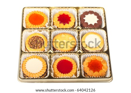 Biscuits in a box isolated on a white background - stock photo