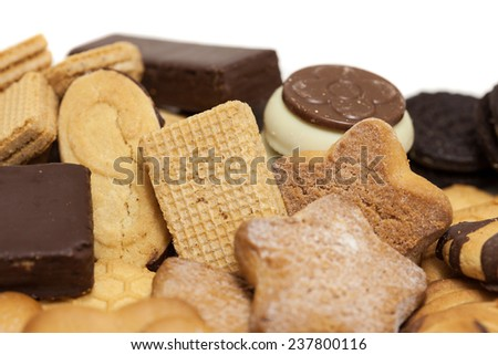 biscuits mix on white background - stock photo