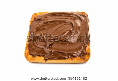 biscuits with chocolate filling isolated on white background - stock photo