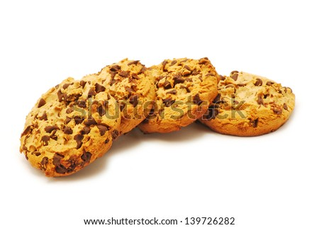 Biscuits with chocolate on white background - stock photo