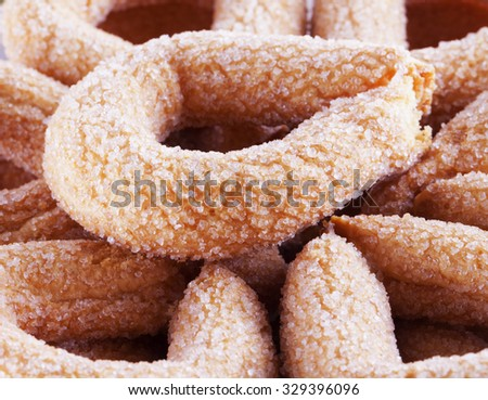 Biscuits with sugar in close up, horizontal image - stock photo