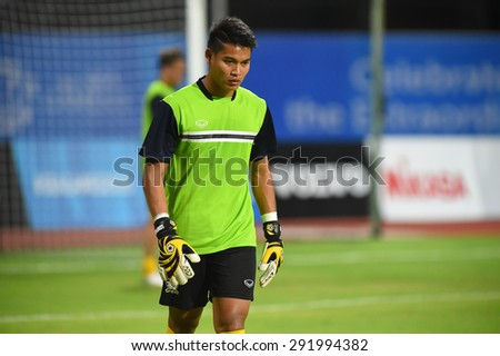 BISHAN,SINGAPORE-JUNE1: Somporn Yos(GK) of Thailand in action before the 28th SEA Games Singapore 2015 match between Thailand and Timor Leste at Bishan Stadium on JUNE1 2015 in,SINGAPORE - stock photo