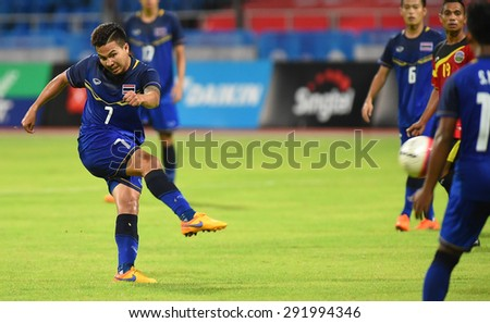 BISHAN,SINGAPORE-JUNE1: Thitiphan Puangjan(7) of Thailand in action during the 28th SEA Games Singapore 2015 match between Thailand and Timor Leste at Bishan Stadium on JUNE1 2015 in,SINGAPORE - stock photo