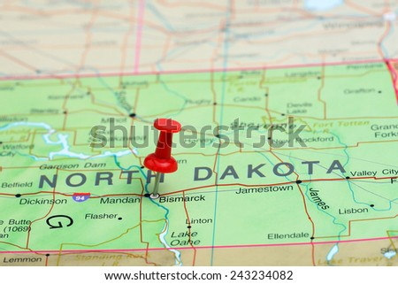 Bismarck pinned on a map of USA  - stock photo