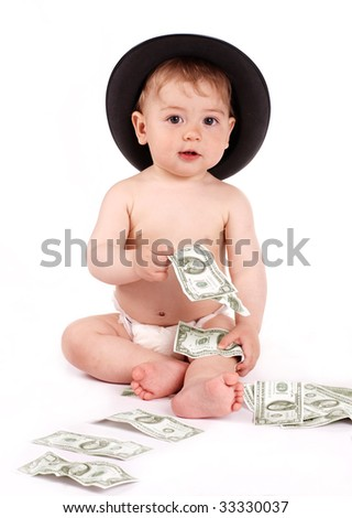 Bisness baby with money on white background - stock photo