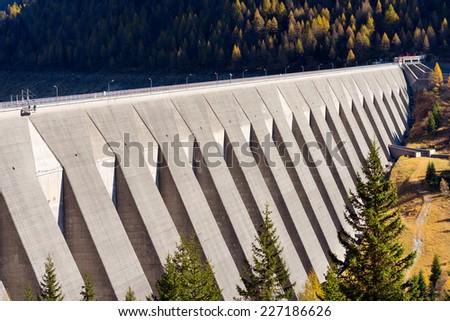 Bissina Dam - Adamello Trento Italy / Bissina Dam (1962). Straight concrete dam in the National Park of Adamello Brenta. Trentino Alto Adige, Italy - stock photo