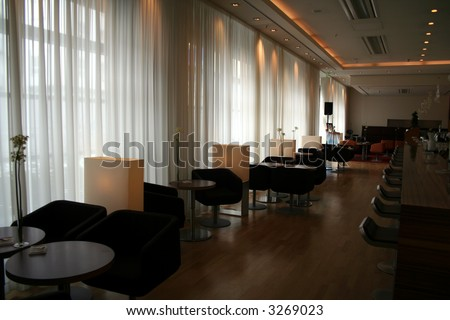 Bistro cum dining bar in a casual and posh setting. - stock photo