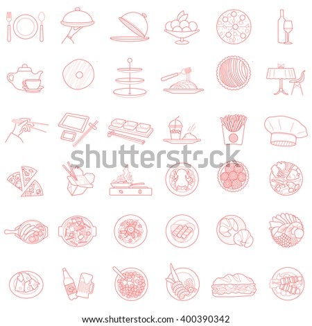 bistro vetcor icons pictogram collection isolated design elements set. contour outline simbols objects food and beverages. - stock photo