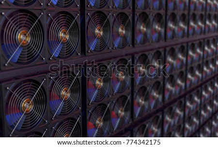 Bitcoin, Altcoin, Cryptocurrency mining asic, 3D rendering