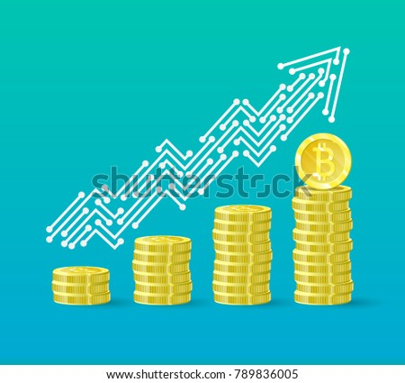 Bitcoin Crypto Currency Growth Chart Financial Stock Illustration