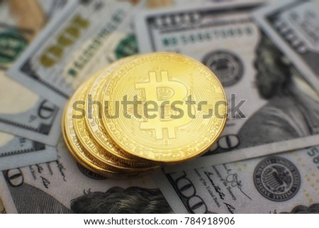 Bitcoin Currency And Dollar BTC Market Symbol Cryptocurrency Rising Above The United States