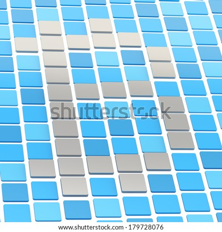 Bitcoin currency sign made of steel and blue square tiles composition - stock photo
