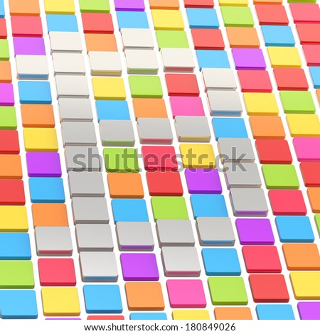 Bitcoin currency sign made of steel metal square tiles over colorful ones as abstract background compostion - stock photo