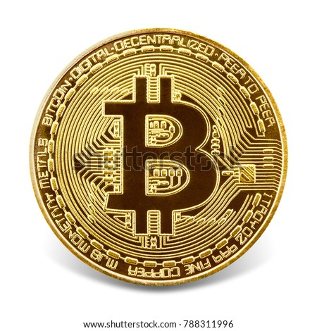 Bitcoin. Golden coin with bitcoin symbol, isolated on the white background, clipping path included.