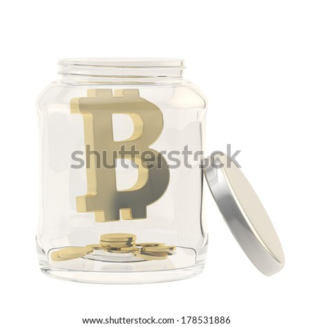 Bitcoin golden peer-to-peer digital crypto currency sign with a multiple coins in a glass jar isolated over white background - stock photo