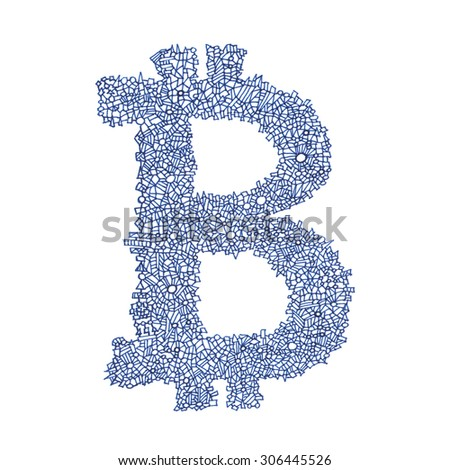 Bitcoin hand-drawn symbol of a digital decentralized crypto currency, letter B on white background. - stock photo
