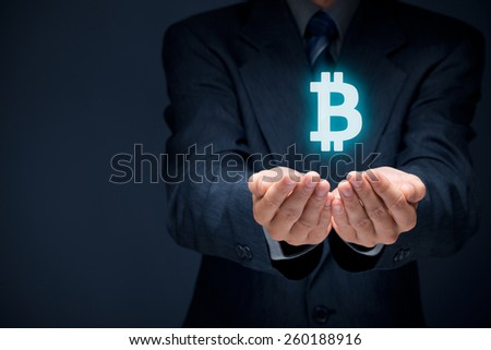 Bitcoin in business and commerce. Businessman offer bitcoin. - stock photo