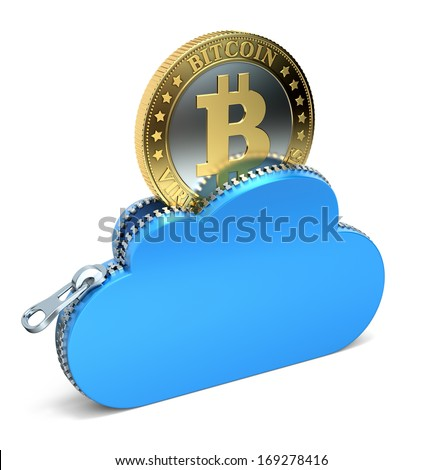 Bitcoin in the cloud - stock photo