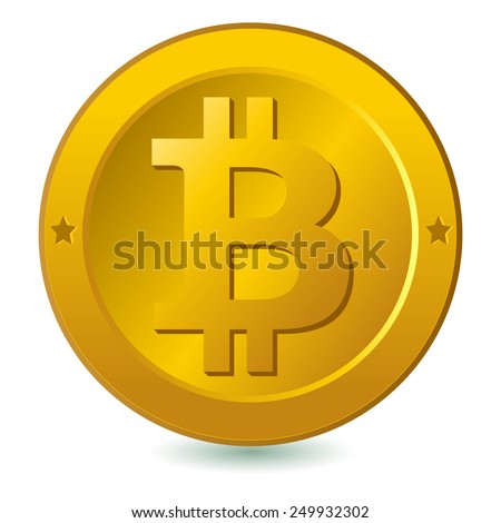 Bitcoin isolated in white. Bitcoin virtual currency isolated in white. Digital currency. Vector version also available in my gallery. - stock photo