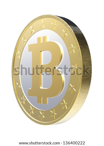 Bitcoin isolated on white. Computer generated 3D photo rendering - stock photo