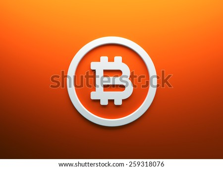 Bitcoin orange background white icon 3d render - stock photo