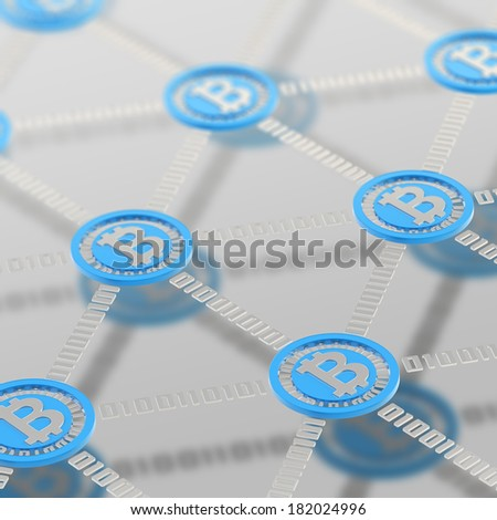 Bitcoin peer-to-peer network vizualized as a grid of connected one to each other blue currency's coins, other the mat chrome surface - stock photo