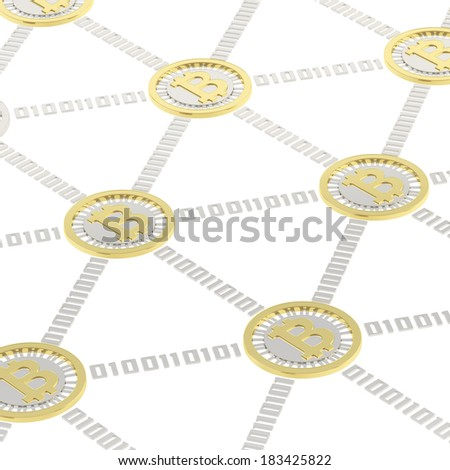 Bitcoin peer-to-peer network vizualized as a grid of connected one to each other golden currency's coins, isolated over white background - stock photo