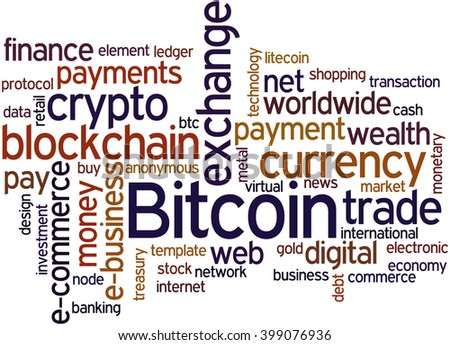 Bitcoin, word cloud concept on white background.