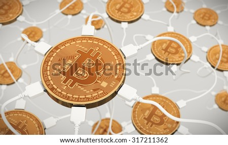 Bitcoins Connected To The Neural Network. 3D Scene. - stock photo