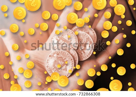 Bitcoins In The Hand A Concept From Coins Of Cryptocurrency 3D Rendering