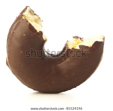 bite chocolate donuts on a white background