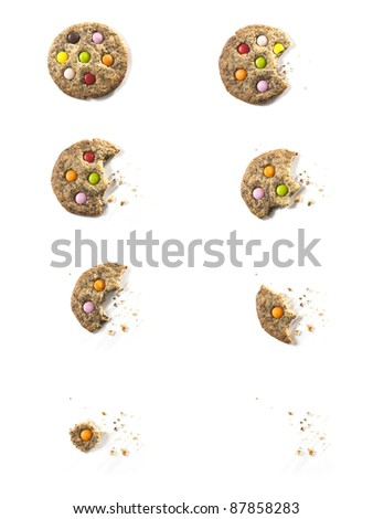 Bites of Chocolate candy Cookie with crumbs - stock photo