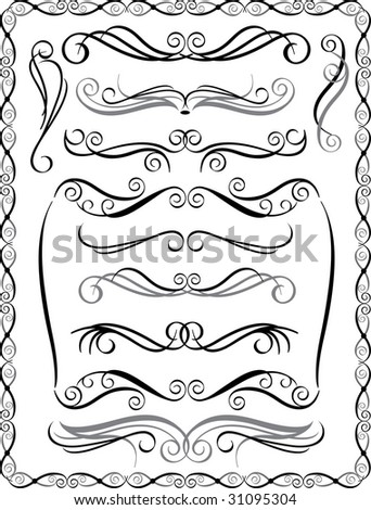 Bitmap collection #2 of decorative border elements. Vector also available. - stock photo
