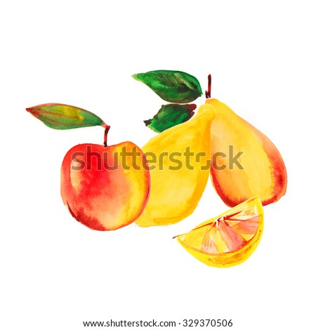 Bitmap fruits.Red Apple, pear and lemon on a white background.Green leaves adorn the composition. Painting with watercolors. - stock photo