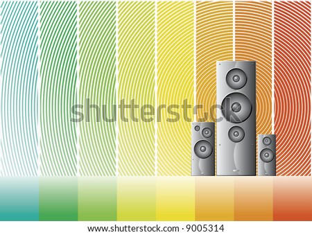Bitmap illustration of three shaded speakers on a colorful rainbow background. Vector also available. - stock photo