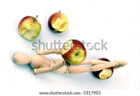 Bitten apples on white background - stock photo